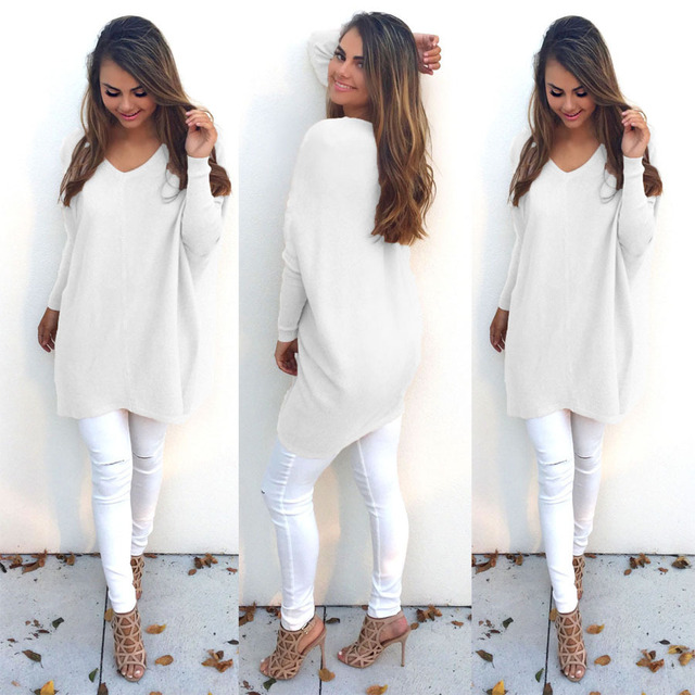 2016 fashion cheap long sleeve pure color v neck knitted sweater plus size long knitwear