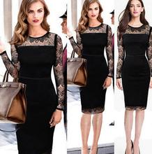 Western Sexy Black Lace Long Sleeve Evening Prom Pencil Dress
