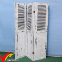 Vintage Wood Folding White Shabby Chic Room Divider