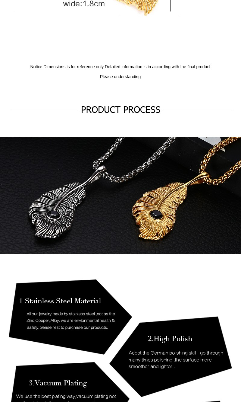 Fashion Style Mens Gold Peacock Feather Necklace Jewelry For Gifts