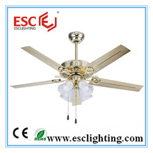 42 Inch Golden Decorative Air Conditioning Ceiling Fan with Led Light Lamp