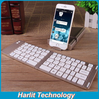 Mini Dual Folding Bluetooth Keyboard With Aluminum Hard Shell Case Tablet Stand