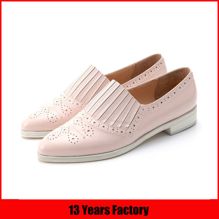 Fashion ladies purple leather pointed toe elegant women's flat casual slip on shoes