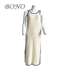 2017 Fashion sleeveless decorative border long hand crochet sweater dress for ladies