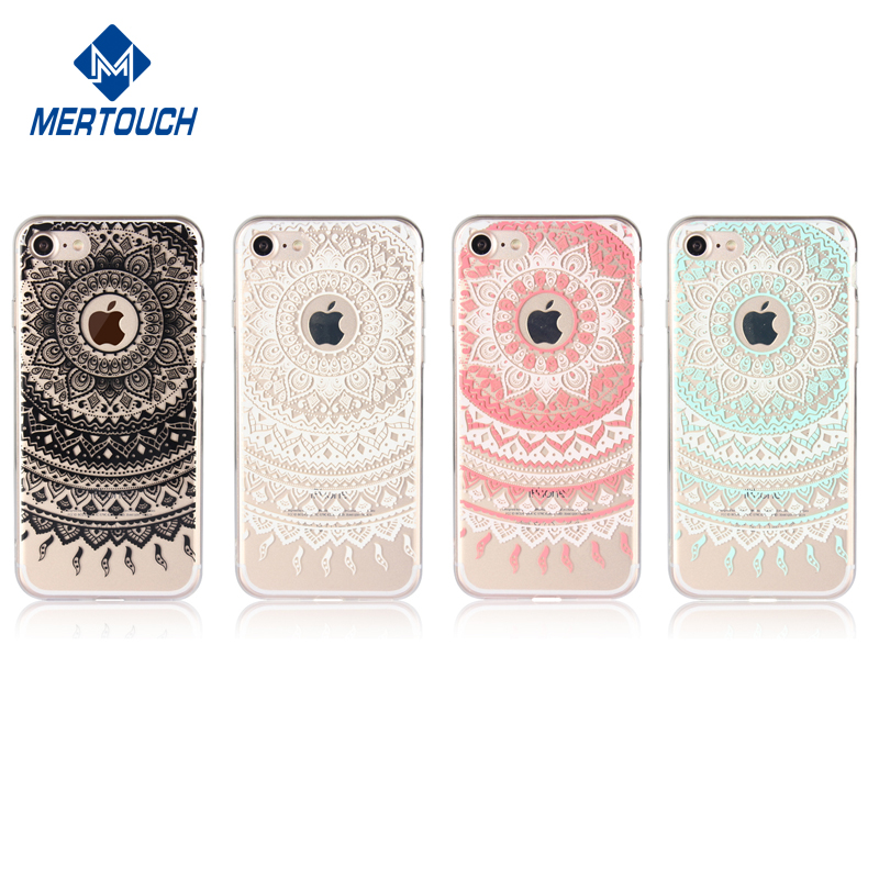 for iphone 7 case , White Henna Mandala Floral Lace Clear Transparent Plastic with TPU Bumper cover case for Apple iphone 7
