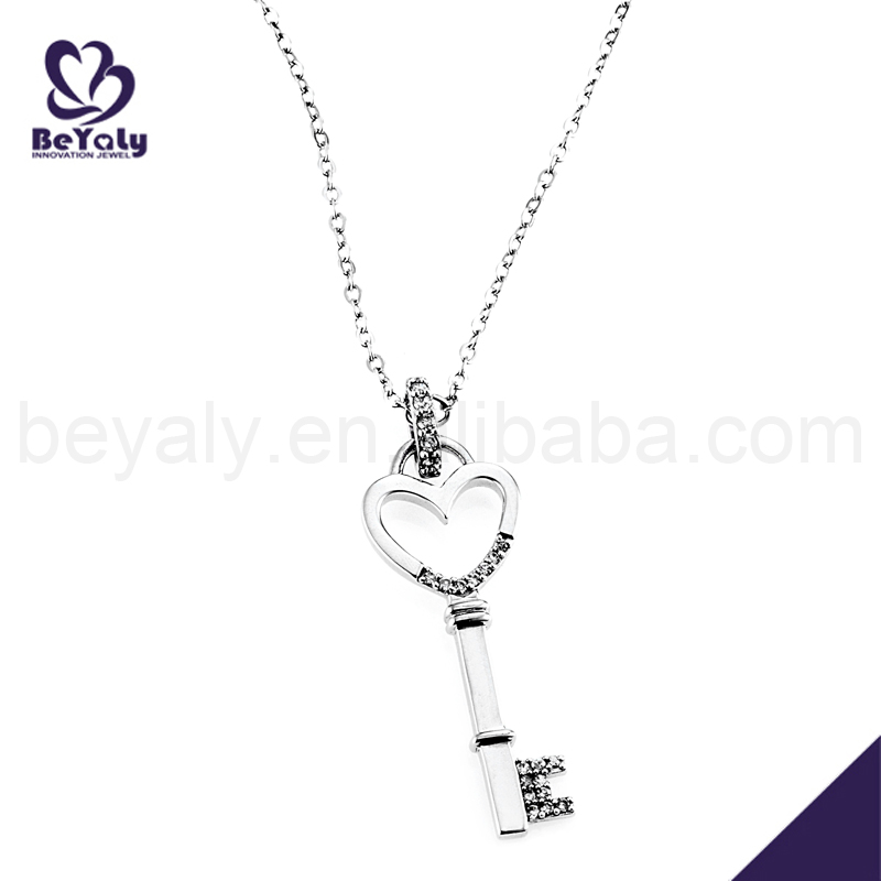 925 silver heart key cz beautiful necklaces for girlfriend