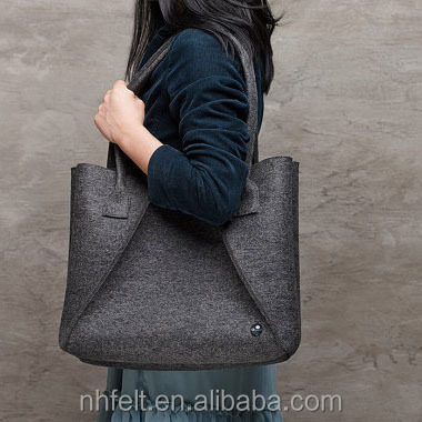 handmade Felt TOTE BAG with leather handles