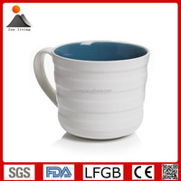 High Quality two tone ripple design ceramic coffee cups and mugs