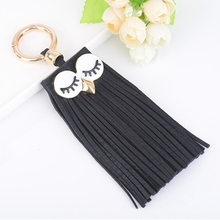 Fashion Casual PU Leather Tassels Women Key Chain Bag Pendant Car Key Chain Ring Hanging Holder Creative Personality (Black)
