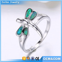 fashion dragonfly shape opal girls finger rings