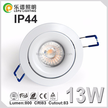 warm white/pure white/cool white 13w cob led downlight with 83mm 5 seconds junction box IP44