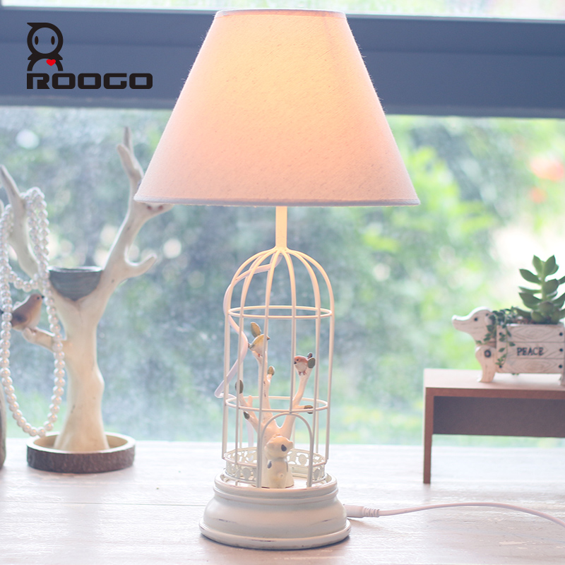 ROOGO Table Lamps resin modern couple white bird Bedside Table Lamp