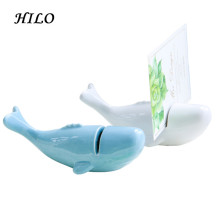 Blue whale ceramic business card holder