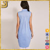 OEM factory price sleeveless blouse designs, blue women blouses