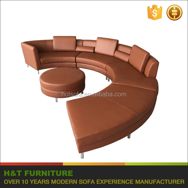 Modern Salon Furniture Round Corner Sectional Leather Sofa T813