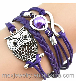 Cheap Fashion Women Love Infinity Owl Pearl Friendship Multilayer Charm Leather Bracelet