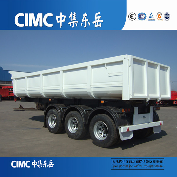 CIMC Strengthen 3 Axle 40ft Semi Dump Trailers / Tipper Lorry For Export Sale
