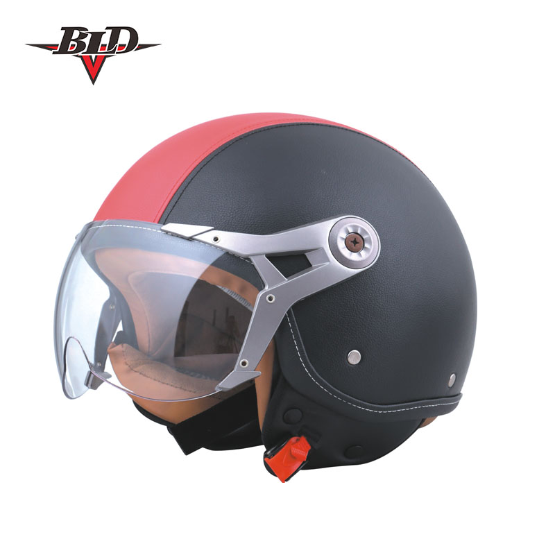 Leather Open Face Scooter Motorcycle Harley Helmet Half Face Helmet with Goggle for Men and Women