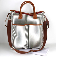 custom high quality frensh stripe baby changing bag with multiple compartments