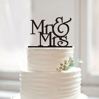 custom color gold glitter Mr & mrs acrylic plain cake topper for wedding decoration