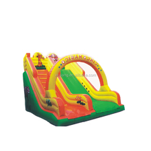 Removable inflatable banner bounce house with slide inside
