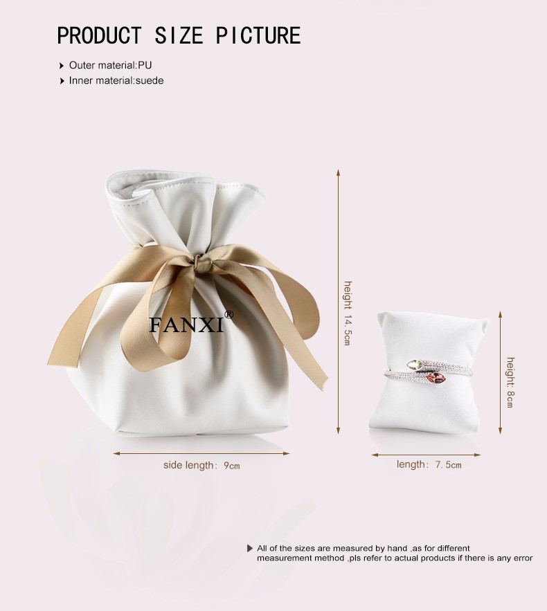 FANXI wholesale custom logo boutique collection gift jewelry bag with suede pillow for watch bracelet packaging PU leather pouch