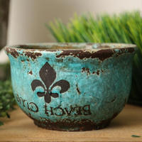 8/10 inch blue pottery flower pot, garden series rustic outdoor planters