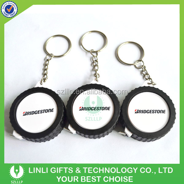 custom logo promotion mini tire keyring with tape measure