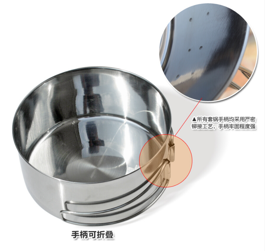 Camping cookware pot set with stainless steel handle
