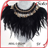 big choker necklace black beaded feather necklace