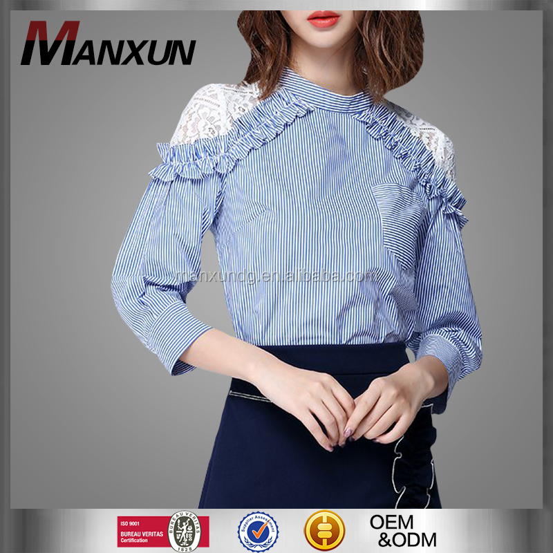Autumn Fashion Design Ladies Half Sleeve Blouse Fancy Ruffle Striped Tops Deep Crochet Lace Blouses