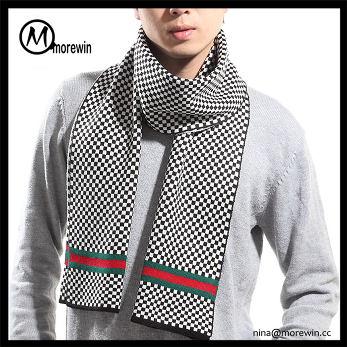 Morewin brand custom 100% acrylic fashion lv style knitted winter scarf for men