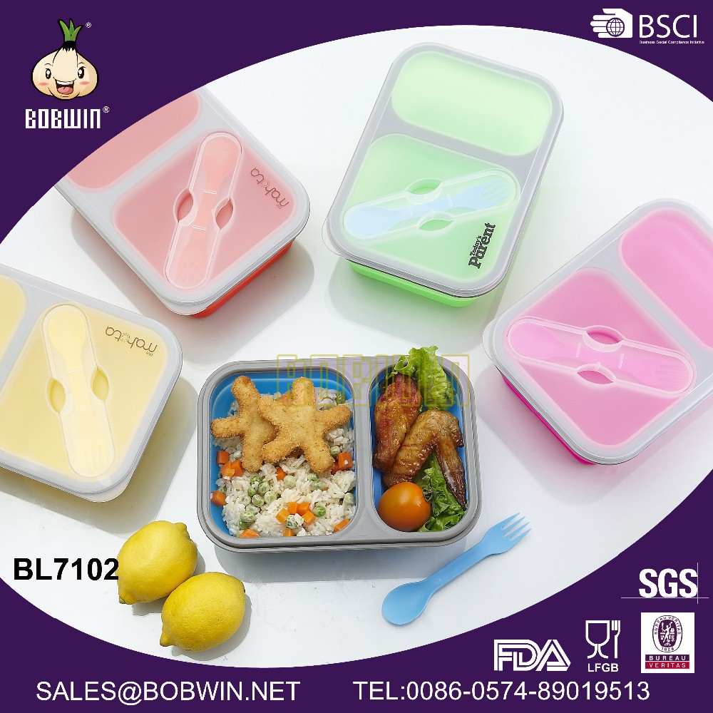 Two Compartment Silicone Lunch Box