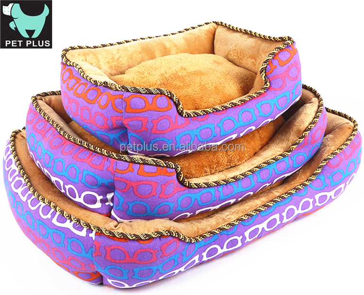 Lovely plush memory foam sponge round shaped petlucky sofa shaped raised dog bed