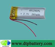 3.7V 260mAh 601240 li-po battery cell with PCM for electric toys