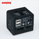 Universal World Travel Adapter with 2 USB Port Charger International Socket Converter Smart Travel Adapter