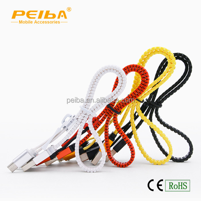 Factory Offer Directly micro usb data cable zipper style 2 in 1 Charging Cable With Your Custom Logo