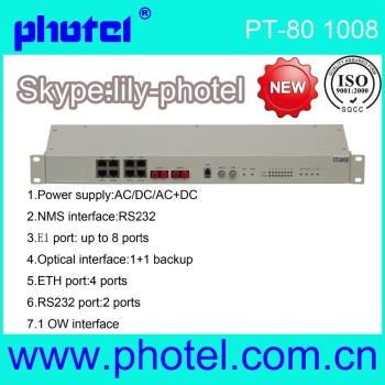 8E1+10/100M Ethernet to fiber optical PDH converter modem
