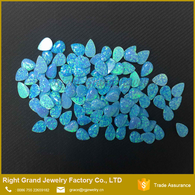 High Quality Synthetic Fire Opal Water Drop Shaped Blue Opal Beads