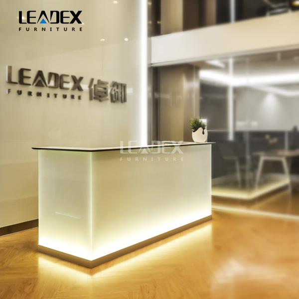 Glass Office Reception Table Design With LED Lights