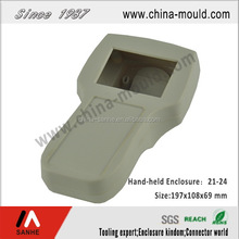 Plastic electronic hand-held enclosure with window and bracket