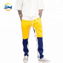 Wholesale custom new fashion two tone splicing sweatpants men track pants