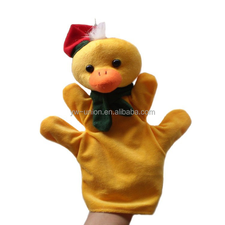 Plush education hand puppet toys chicken / Plush yellow chick education puppet