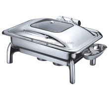Wholesale Luxury Hydraulic 9.0L Stainless Steel Chafing Dish For Buffet With Glass Lid Food Warmer