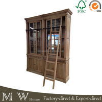 vintage french bookcase with ladder, solid oak wood bookcase with ladder, bookcse with ladder