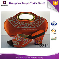 Dangote wedding shoes and matching bag with orange african shoes and bag set and dubai shoes
