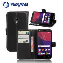 hot selling card slots flip leather cover case for alcatel pixi 4 5