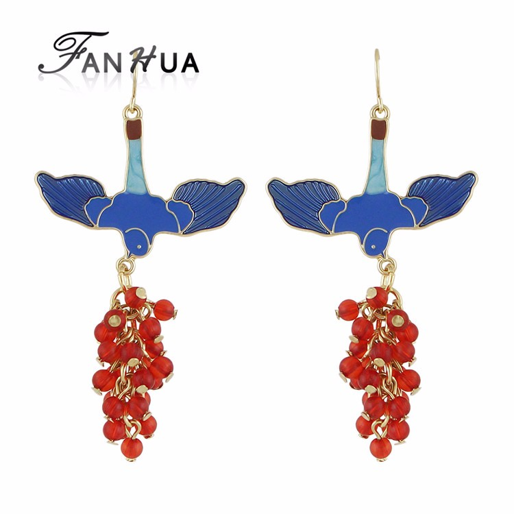 Vivid Enamel Bird Shape Hanging Beads Long Earrings