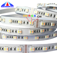 Amazon hot sell! 5 in 1 chips <strong>RGB</strong>+WW+CW flexible strip light <strong>RGB</strong>+CCT LED light strip 5050 60led/meter 12v 24v