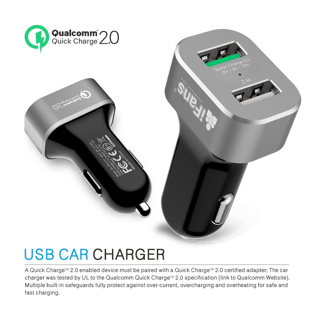 iFans WHOLESALE hot-selling double USB port Qualcomm Quickcharge 3.0 Car charger with sence IC forcharging diverse devices